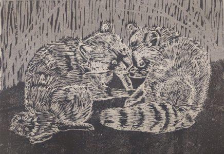 Waschbären, Holzschnitt (Reduzierschnitt)
